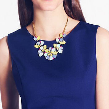 Bungalow Bouquet Short Statement Necklace, Colorful Gemstone Necklace,Gift Jewelry