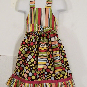 Girls Stripes and Dots Ruffled Full Apron-----Made in the USA--#48