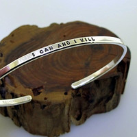 I CAN AND I WILL, Sterling Silver Cuff Bracelet