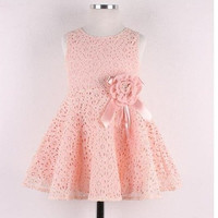 2-7 Year Baby Girls Dresses One Piece Lace Floral Toddler Infants Princess Dress = 1958205188