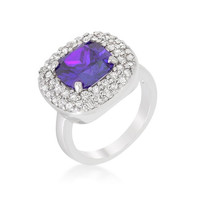 Micropave Purple Bridal Cocktail Ring, size : 07