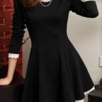 Black Flounced Long Sleeve Dress with Lace Trim