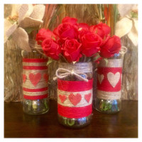Rustic Jute Wrapped Jars, Valentines Day Mason Jars, Red and Tan Jute Wrapped Vases, Valentines Day Gift, Rustic Home Decor, twine jars