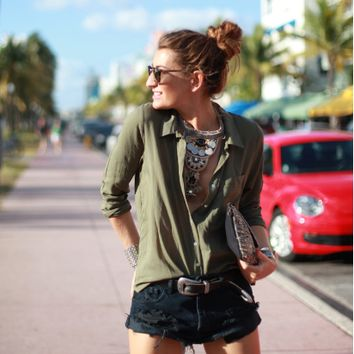 Army Green Long-Sleeve Button Collar Shirt