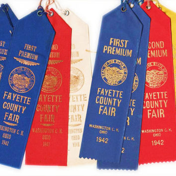 Fayette County, Ohio fair ribbons, 1941 & 1942