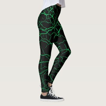 Green lightning, bolts pattern, thunders on black leggings