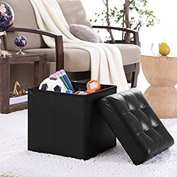"Ellington Home Foldable Tufted Faux Leather Storage Ottoman Square Cube Foot Rest Stool/Seat - 15"" x 15"" (Black)"