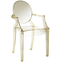 Philippe Starck Style Louis Ghost Arm Chair Transparent Clear Yellow