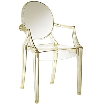 Philippe Starck Style Louis Ghost Arm Chair Transparent Yellow