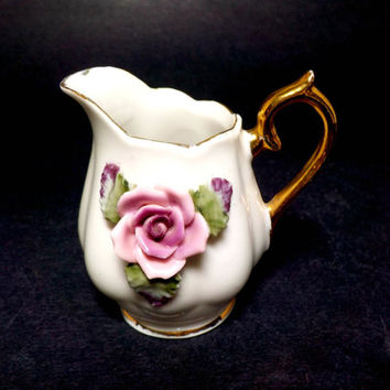 Small Collectible Pitcher, Gold Gilt Handle, Pink Sculpted Flowers, Scalloped, Petite Pitcher, 2 Avail