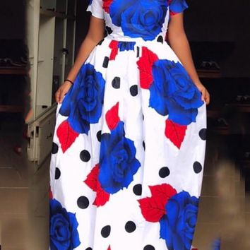 New White Floral Print Pockets Pleated High Waisted Big Swing Long Sleeve Elegant Party Maxi Dress