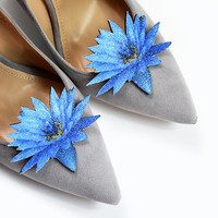 Blue water lily flower - shoe clips, shoe accessories, shoe fashion, real glitter, leather accessories, wedding shoe