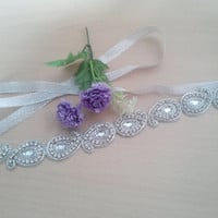 Silver rhinestone headband, paisley design rhinestone lace, , wedding, bridal, flower girl, party, silver ribbon, glamorous, unique item.