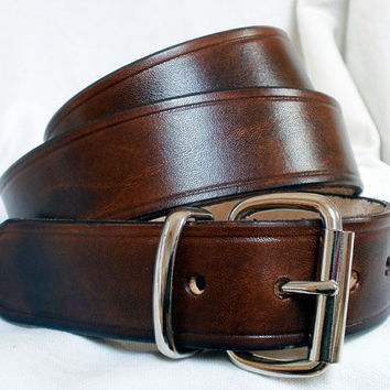 Men's leather belt, 1.5 in wide, steel buckle and loop, women's leather belt, brown leather belt