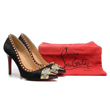 Original Christian Louboutin Horsehair With Gold Spikes High Heels 100mm