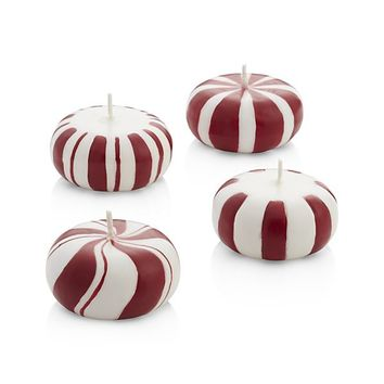 Peppermint Floating Candles Set of 4