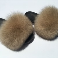 Nude fox fur slides fur slippers tan faux fur slides