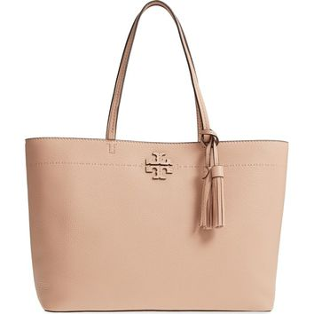 Tory Burch Mcgraw Pebbled Leather Tote Handbag | Overstock.com Shopping - The Best Deals on Tote Bags