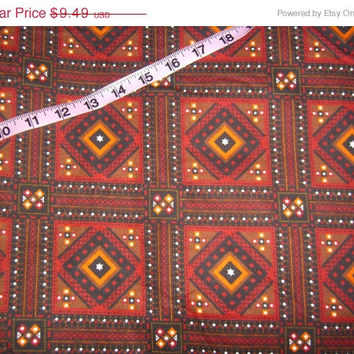 Flannel fabric Southwest design squares cotton sewing quilting material by the yard 1yd for crafting projects