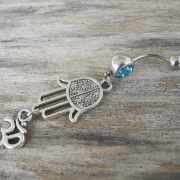 Hamsa Om Belly Ring, Hamsa Belly Button Ring, Buddhist Om Belly Piercing, Hand of Fatima, Yoga Inspired, Buddhist Body Jewelry