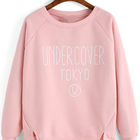 Pink Graphic Print Slit Asymmetric Sweatshirt