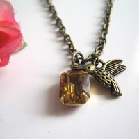Vintage Inspired Spring Sweet Honey and 3D Antiqued Bronze Humming Bird Petite Necklace