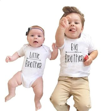 DCCKL3Z 2017 Babies Brothers Matching Clothing Little Baby Boy Bodysuit Big Brother T-shirt Tops Letters Clothes