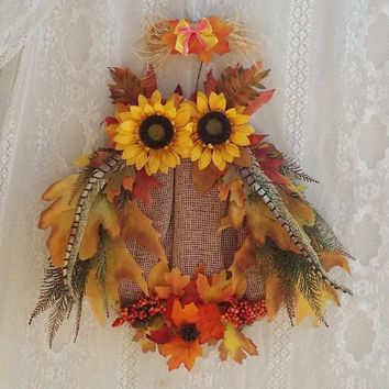 Owl, Beautiful Owl floral Wreath, Owl Fall Decor, Autumn Decor Owl, Autumn Harvest Owl Wreath, Owl Wreath