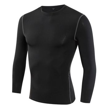 Mens Long Sleeve T shirt Bodybuilding Fitness Gyms Clothing Male Compression Yoga Basketball Football Quick Dry Tops Tight Tee