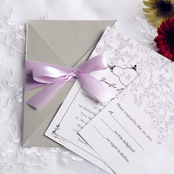 Beautiful Rustic Wedding Invitations Kits - Lavender Purple Ribbon and Floral Wedding Invites - Gray Pocket, Custom Design EWPI090
