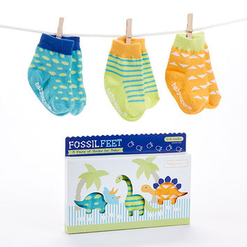 "Baby Aspen ""Fossil Feet"" 3-Piece Dinosaur Socks for Baby"