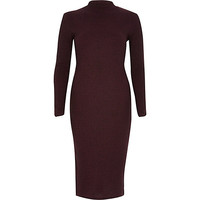 River Island Womens Red ribbed bodycon turtle neck dress