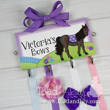 Deluxe HAIR BOW HOLDER Personalized Purple Horse HairBow Holder Organizer DHB003