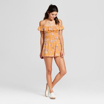 Women's Ruffle Flounce Off the Shoulder Romper - Almost Famous (Juniors')
