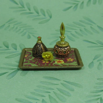 Dollhouse Miniature Tray with Bottles & Yellow Flower