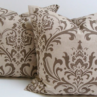 Damask  Pillows.SET OF TWO.18x18 inch.Decorator Pillow Cover.Tone on Tone.damask.Printed Fabric Front and Back.Set of Pillows