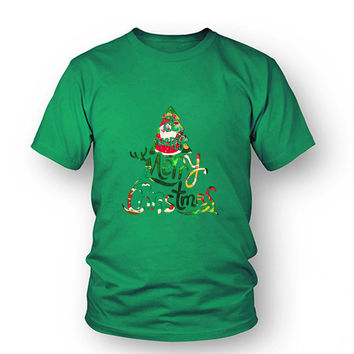 Red Green Christmas Tree Print T-Shirt Feminina For Women Funny Printed Tshirt  Plus Size Women T Shirt Femme Lady T-C10067