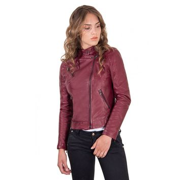 Women's Leather Jacket biker cross zip red purple color Karim