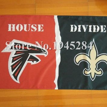 NFL Atlanta Falcons New Orleans Saints House Divided Flag Banner 3x5ft 150x90cm Polyester 05007, free shipping