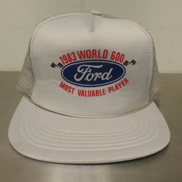 Vintage 80's Ford World 600 Most Valuable Player Grey Mesh Snapback Trucker Dad Hat NASCAR Car Racing