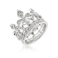 Walmart: J Goodin R08073R-C01-06 White Gold Rhodium Bonded Crown Style Eternity Ring Featuring Milligrain Accents and Bezel