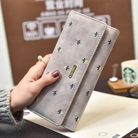 Stylish Embroider PU Leather Card Holder Purse Trifold Long Wallet