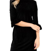 Velvet Ruffle Sleeve Dress, Black