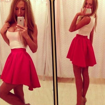 New Fashion Women Sweet Splicing Color Red + White O-Neck Sleeveless Casual Irregular Mini Vest Dress 7_S = 1913380612