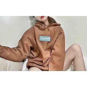 """Supreme"" Popular Women Men Loose Letter Embroidery Long Sleeve Hoodie Pullover Sweatshirt Top Sweater Brown I-CR-CP-WM-YD"
