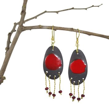 Handmade; Oval Metal Fringe Nerikomi Earrings; Red