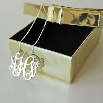 "1.25"" inch Monogram Necklace - 925 Sterling Silver 100% Handmade"