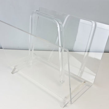 Vintage Lucite Magazine Rack, Clear Acrylic Magazine Rack, Vintage Lucite Decor, Vintage Lucite Furniture, Vintage Clear Plastic Decor