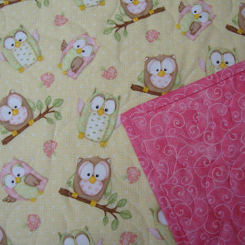 BABY GIRL Owl QUILT Toddler Quilt Play Mat or Crib Quilt with Owls in Pink and Yellow, Made to Order, Personalized Baby Quilt, Custom Quilt
