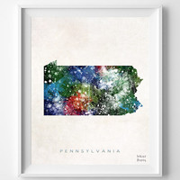 Pennsylvania Map, Harrisburg Poster, Painting, Watercolor, Nursery, Room, Home Town, Wall Art, USA, United States, Decor, Gift [NO 374]
